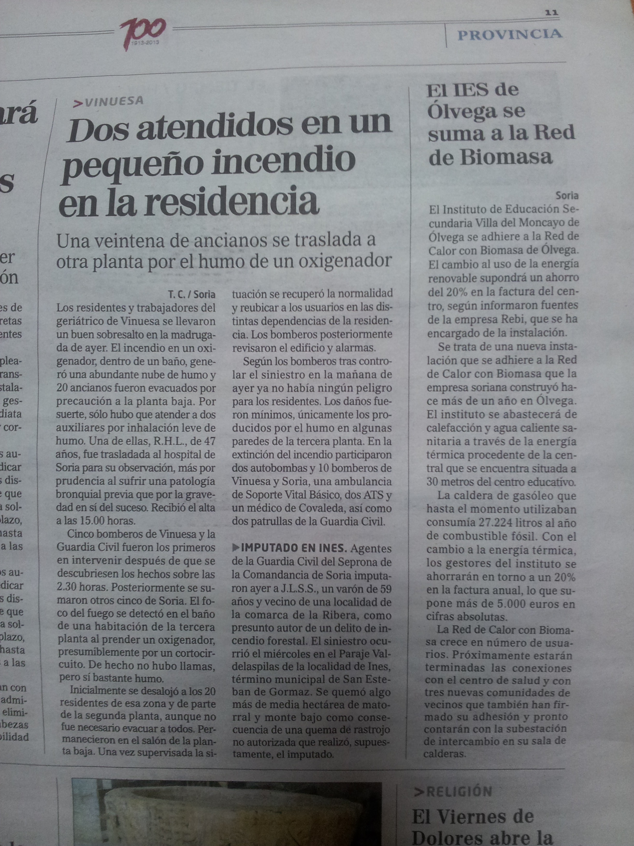 Noticia Diario de Soria, 11 de abril de 2014.