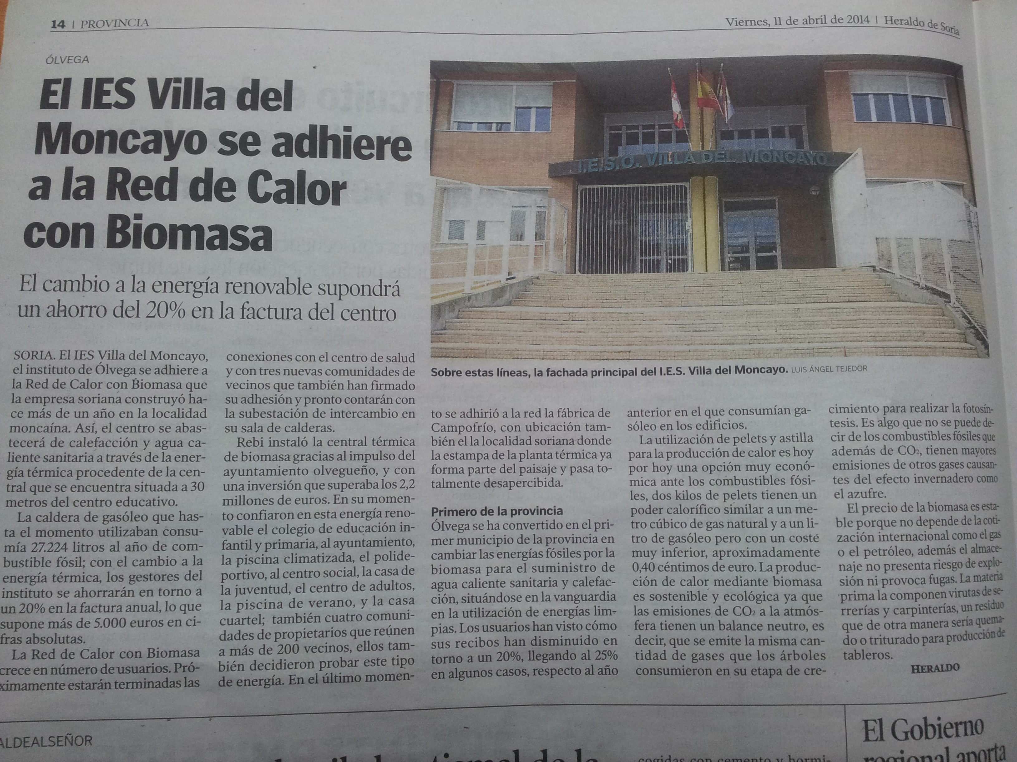 Noticia Heraldo de Soria, 11 de abril de 2014.