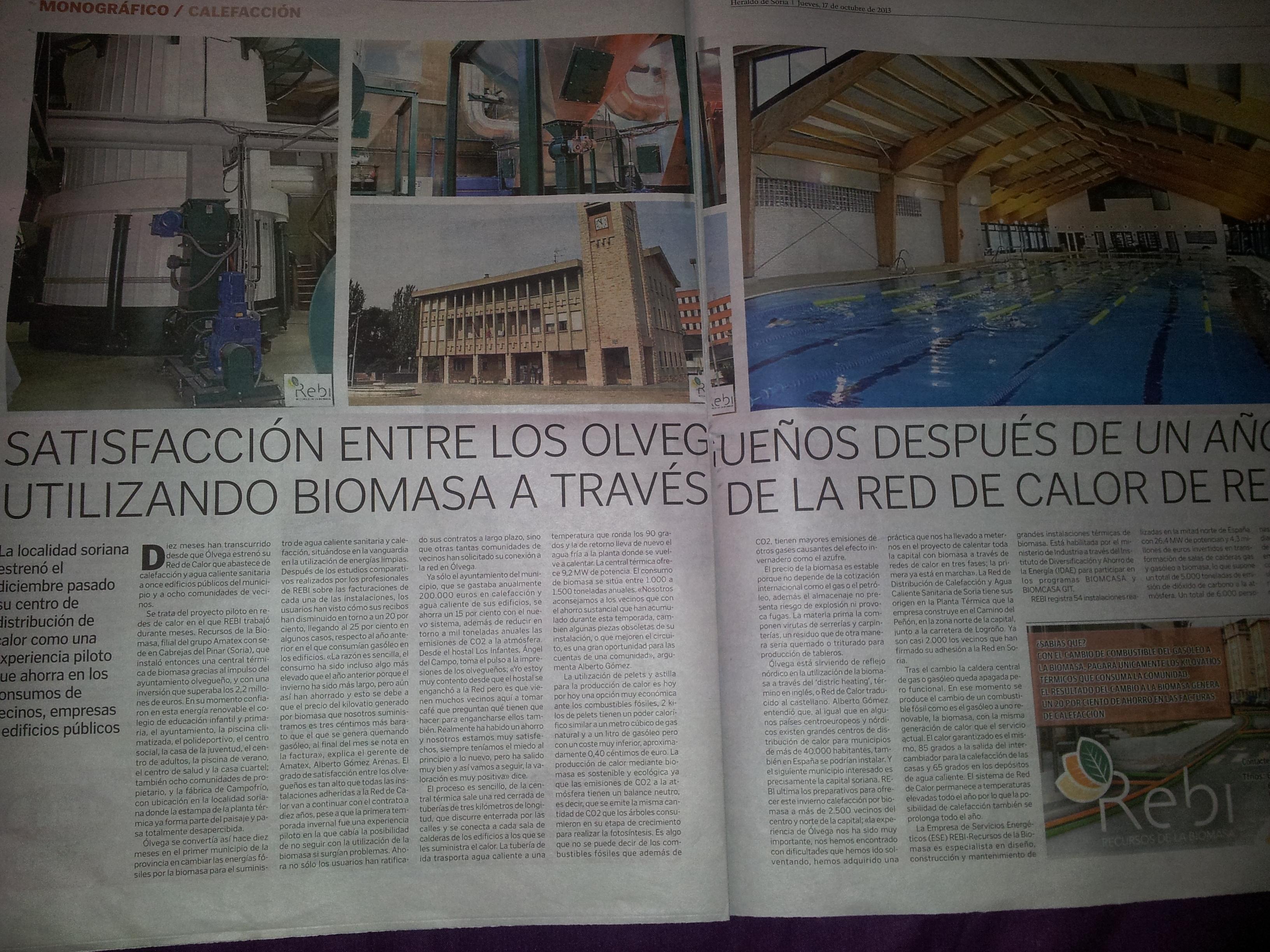 Reportaje en el suplemento de calefacción publicado por Heraldo de Soria el 17 de octubre de 2013