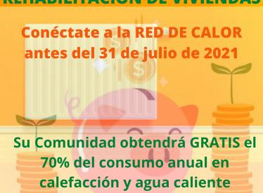 REBI SLU: Los vecinos que se conecten a las Red de Calor de REBI antes del 31 de julio se beneficiarán de las ayudas de rehabilitación energética